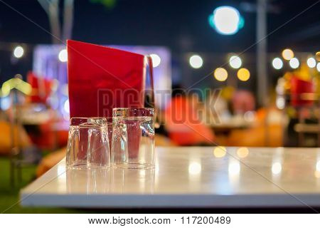 Glass And Ice Bucket On The Table