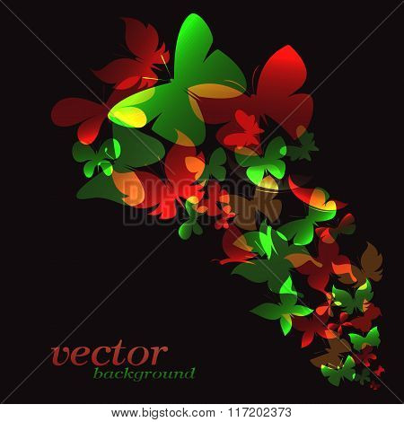 Butterfly Design On Black Background - Vector Illustration