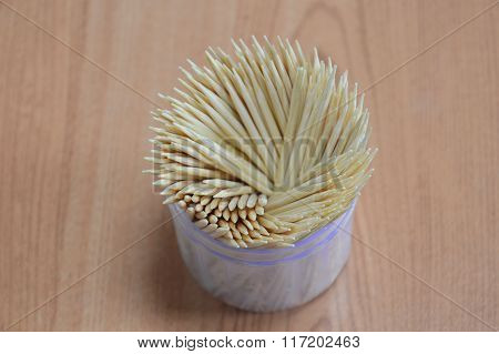 toothpick in box packaging on table