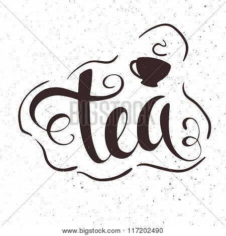 Vector Hand Drawn Lettering Tea Badge, Labels, Signs. Monochrome Design With Stylish Elements.