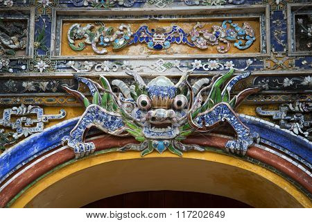 The dragon guarding the Eastern Bastion of the Purple city. Hue, Vietnam