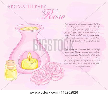 Vector Illustration Of Oil Burner With Rose Flovers And Essential Oil