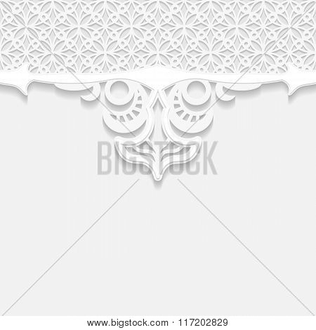 Vintage vector background festive pattern embossing area division for writing the text 3D