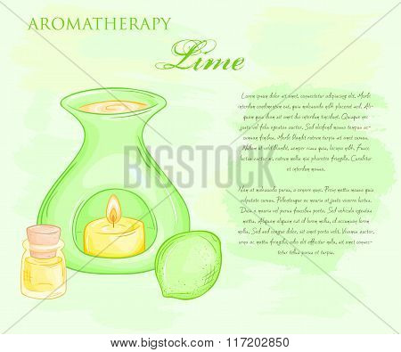 Vector Illustration Of Oil Burner With Lime And Essential Oil