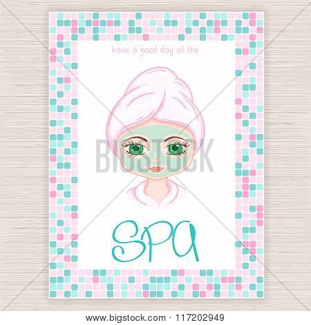 Vector Illustration Of Spa Party Invitation With Colorful Mosaic Frame With Woman With Head Wrapped