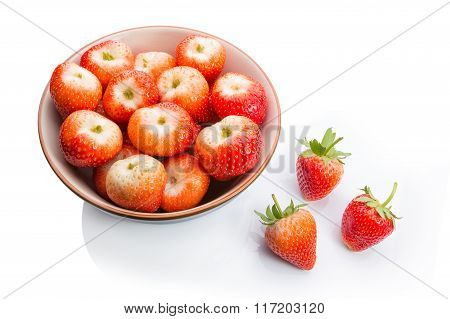 Strawberries In Bowl On White Background