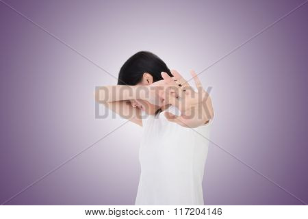 woman protect or hide her face, concept of secret, privacy, etc