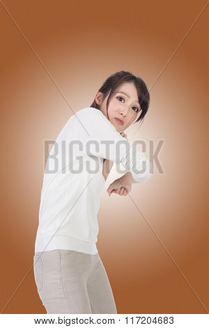 Portrait of Asian woman under attack.