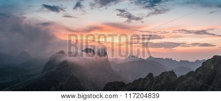 Majestic Sunset With Mountain