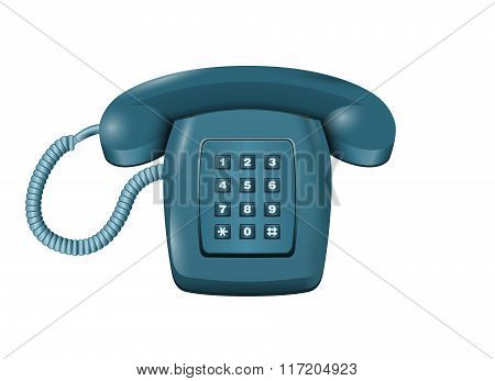 Classic Landline Dmtf Telephone Isolated On White Vector