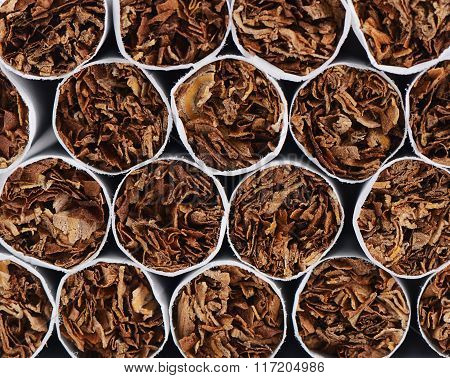 Closeup Of Tobacco Cigarettes Background Or Texture