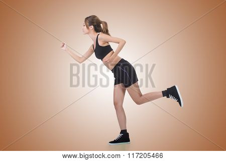 Jogging girl of Asian, full length portrait on white background.