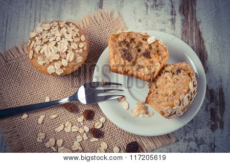 Vintage Photo, Fresh Muffins With Oatmeal Baked With Wholemeal Flour On White Plate, Delicious Healt