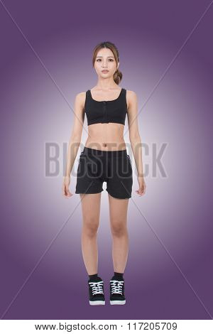 Cheerful sport girl of Asian, full length portrait on white background.