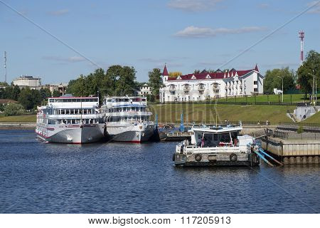 Cruise ships are moored at the pier of Uglich city