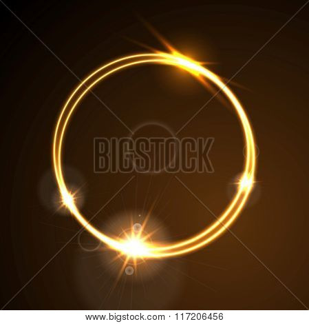 Glow orange neon bright ring shiny background. Energy effect logo vector template design