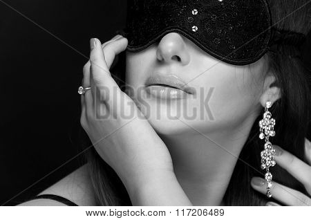 Beautiful Sexy Woman. Her Eyes Closed Mask. Monochrome