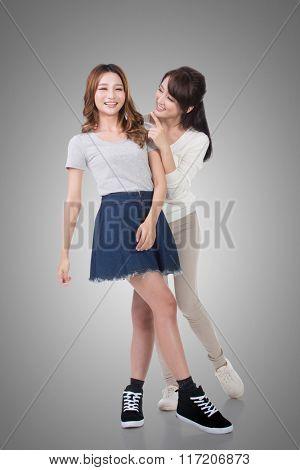 Happy smile Asian women, full length portrait isolated.