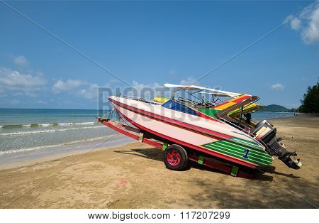 Colourful Sea Fishing Boats On Tropical Beach Asia