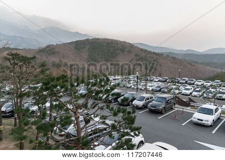 Parking lot of a hotel.