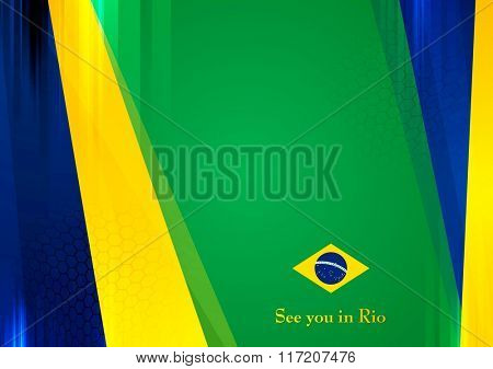 Sport games abstract background in Brazilian colors. Vector graphic brochure design