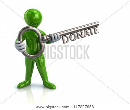 Green Man And Silver Key With Word Donate