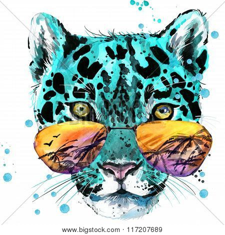 Leopard illustration. watercolor Leopard. Leopard T-shirt graphics design. illustration watercolor c