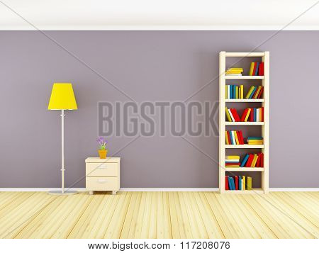 Wall With Bookcase And Nightstand
