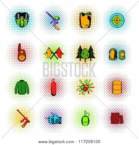 Paintball game comics icons set
