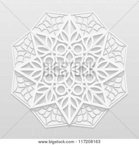 Decorative flower mandala embossed pattern arabic ornamentindian ornament 3D vector