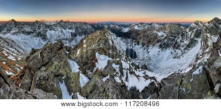 Panoramic View Of White Winter Mountains With Colorful Sunset - High Tatras, Slovakia