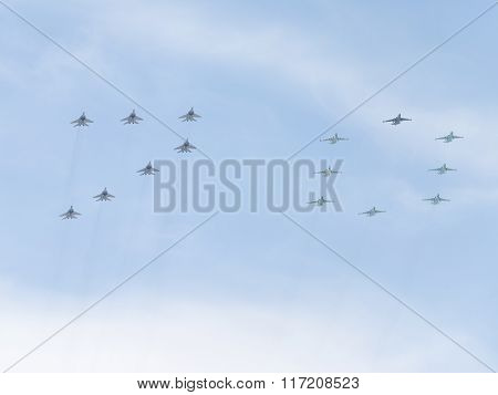 Fifteen Aircraft Paint The Figure 70 In The Victory Day
