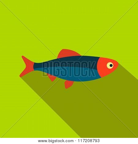 Fresh raw fish flat icon
