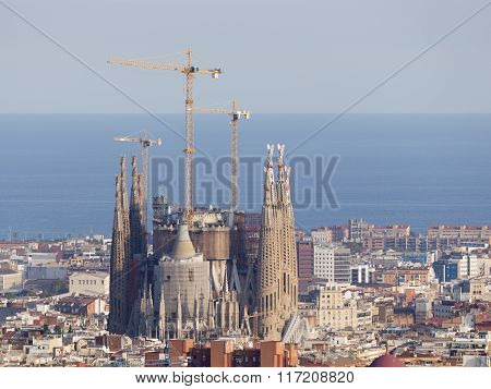 Sagrada Familia And The Mediterranean Sea