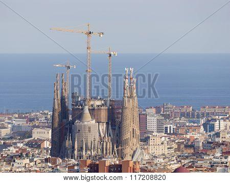 Sagrada Familia And The Mediterranean Sea