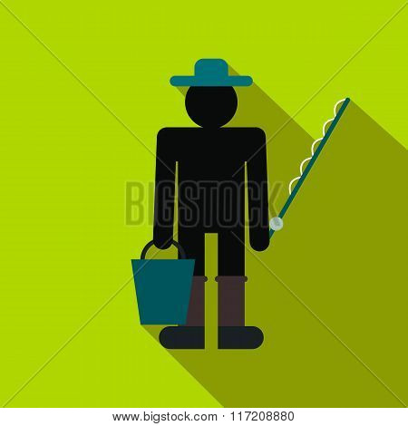 Fisherman with bucket and fishing rod flat icon
