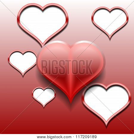 Design element - red 3D heart. You can use as a template card cover. Vector illustrations.