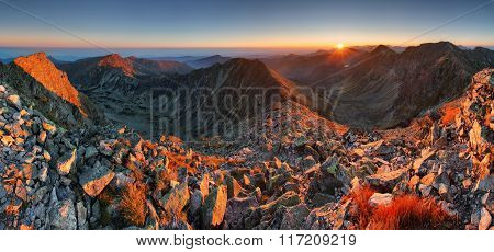 Autumn Panorama In High Mountain Ladnscape With Sun