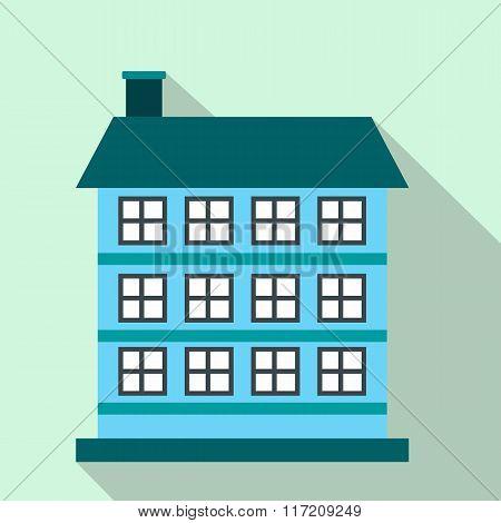 Three-storey house flat icon