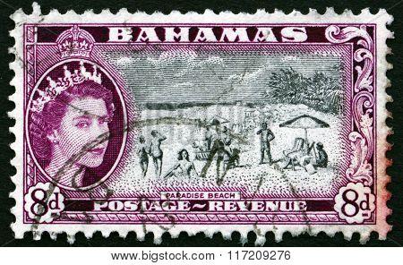 Postage Stamp Bahamas 1954 Paradise Beach