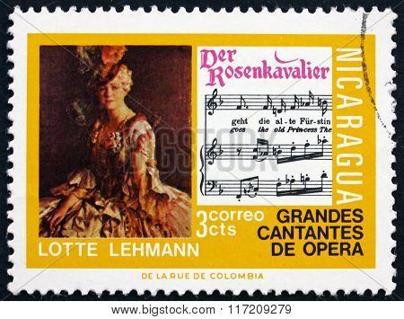 Postage Stamp Nicaragua 1975 Lotte Lehmann, Opera Singer