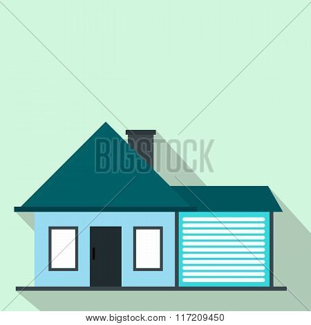 Cottage with a garage flat icon