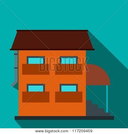 Two-storey house with porch flat icon