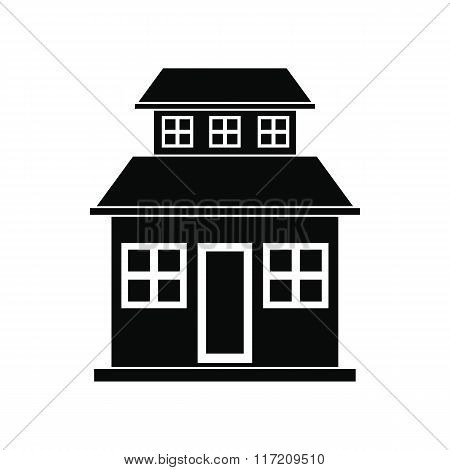 Cottage with a mansard black simple icon
