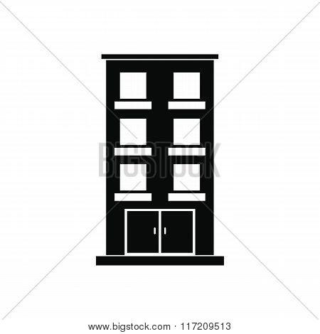 Three-storey house black simple icon