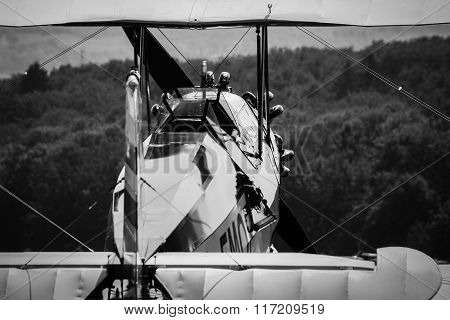 Classic biplane at an international airshow