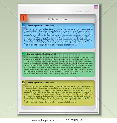 Vector design element of a simple page for text. The page template is suitable for printing and desi