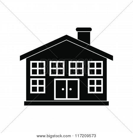 Two-storey house black simple icon