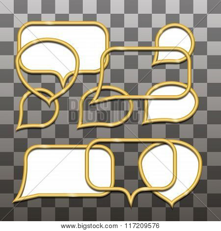 Design elements - set of gold 3D wire frame for the inscriptions. All with shadows. Vector illustrat
