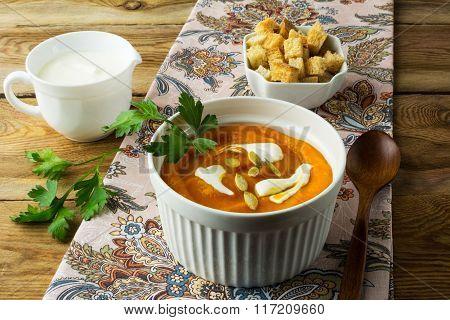 Autumnal Pumpkin Soup With Cream